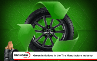 a tire on a green background