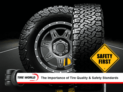 2 tyres with tread and rim with a safety first sign